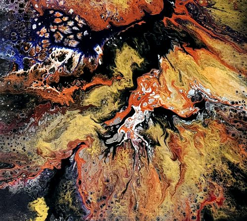 Close up view of abstract painting